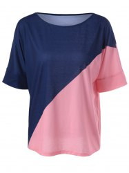 Casual Color Block Knitting Top For Women - BLUE AND PINK XL