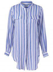 Contracted Stripe Long Sleeve Shirt For Women - BLUE AND WHITE XL