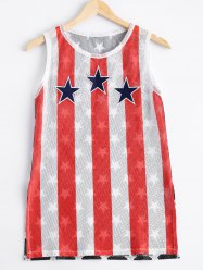 Fashionable Round Collar Elasticated Net Star Stripe Printing Tank Top For Women