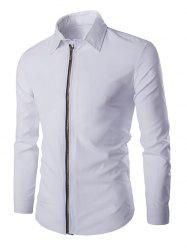 Chic Zipper Openning Turn-Down Collar Long Sleeve Shirt For Men - WHITE