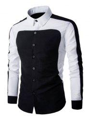 Color Splicing Turn Down Collar Long Sleeve Shirt For Men -