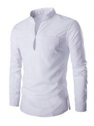 Mandarin Collar Long Sleeve Slim Fit Shirt - WHITE