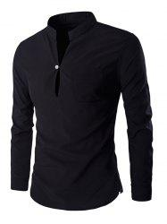 Brief Style Pure Color Mandarin Collar Long Sleeve Pullover Shirt For Men
