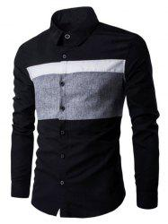 Turn Down Collar Color Spliced Long Sleeve Shirt For Men