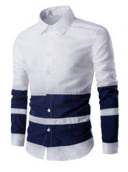 Turn Down Collar Color Splicing Long Sleeve Shirt For Men - WHITE L