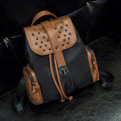 Fashionable Drawstring and Rivets Design Backpack For Women -