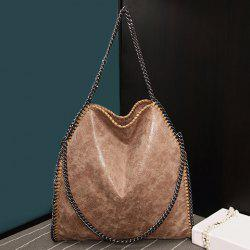 Fashion PU Leather and Chains Design Shoulder Bag For Women - DARK APRICOT
