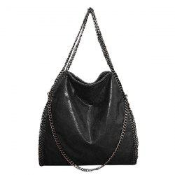 Fashion PU Leather and Chains Design Shoulder Bag For Women - BLACK