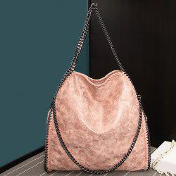 Fashion PU Leather and Chains Design Shoulder Bag For Women - PINKBEIGE