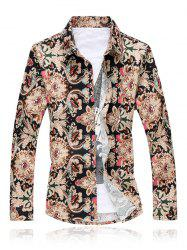 Floral Print Turn Down Collar Long Sleeve Shirt For Men