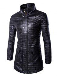 Retro Style Pockets Design Funnel Collar Leather Coat For Men - BLACK
