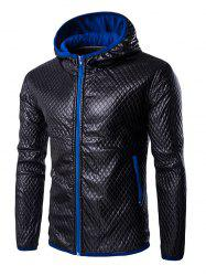 Retro Style Color Block Hooded Quilting Leather Coat For Men - BLUE