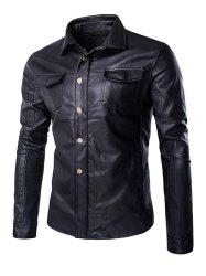 Retro Style Turn-Down Collar Flap-Pocket Design Leather Coat For Men - BLACK