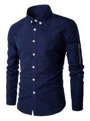 Zippered Solid Color Long Sleeve Button-Down Shirt For Men