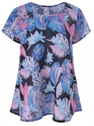 Casual Leaf Print Draped Blouse -