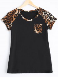 Trendy Leopard Print Single Pocket T-Shirt
