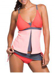 Spaghetti Strap Color Block Tankini Bathing Suit - ORANGEPINK