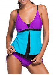 Spaghetti Strap Color Block Tankini Bathing Suit