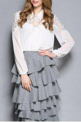 Hollow Out Lace Spliced Chiffon Blouse