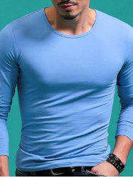 Solid Color Round Neck Long Sleeve T-Shirt For Men