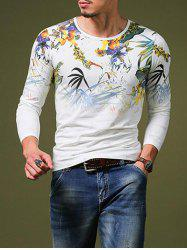 Stylish Plant Print Slim Fit Round Neck Long Sleeve T-Shirt For Men