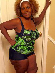 Simple Spaghetti Strap Leaves Printed Two Piece Swimsuit For Women - BRIGHT GREEN 6XL