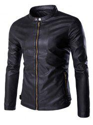 Multi-Zipper Stand Collar Long Sleeves PU Leather Jacket For Men -