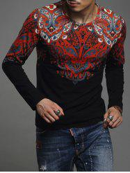 Paisley Print Round Neck Long Sleeve T-Shirt For Men