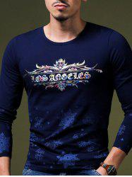 Round Neck Long Sleeve Floral Print T-Shirt For Men -