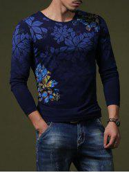 Stylish Flower Print Slim Fit Round Neck Long Sleeve T-Shirt For Men - SAPPHIRE BLUE