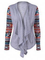 Geometric Pattern Irregular Front Fly Cardigan - GRAY