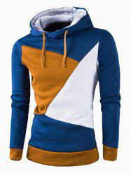 IZZUMI Stylish Color Block Spliced Slim Fit Long Sleeve Hoodies For Men - DEEP BLUE
