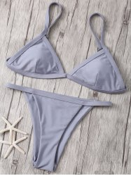 Attractive Spaghetti Straps Solid Color Bikini Set For Women