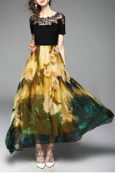 Embroidered Floral Maxi Cocktail Party Dress