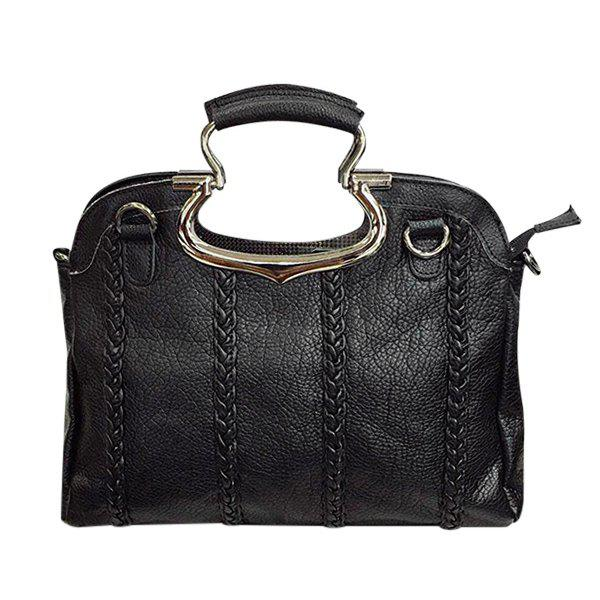 Latest Trendy Black Color and Weaving Design Tote Bag For Women