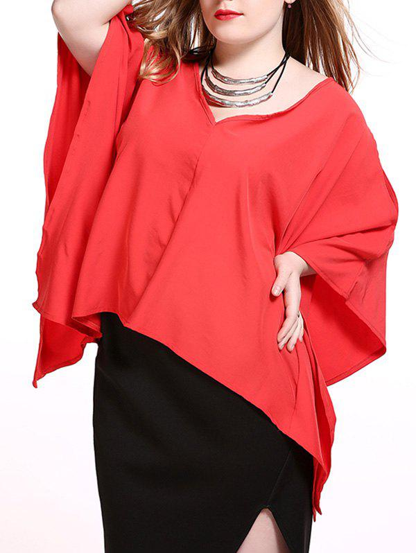 Store Plus Size Alluring Slit Sleeve Asymmetrical Blouse