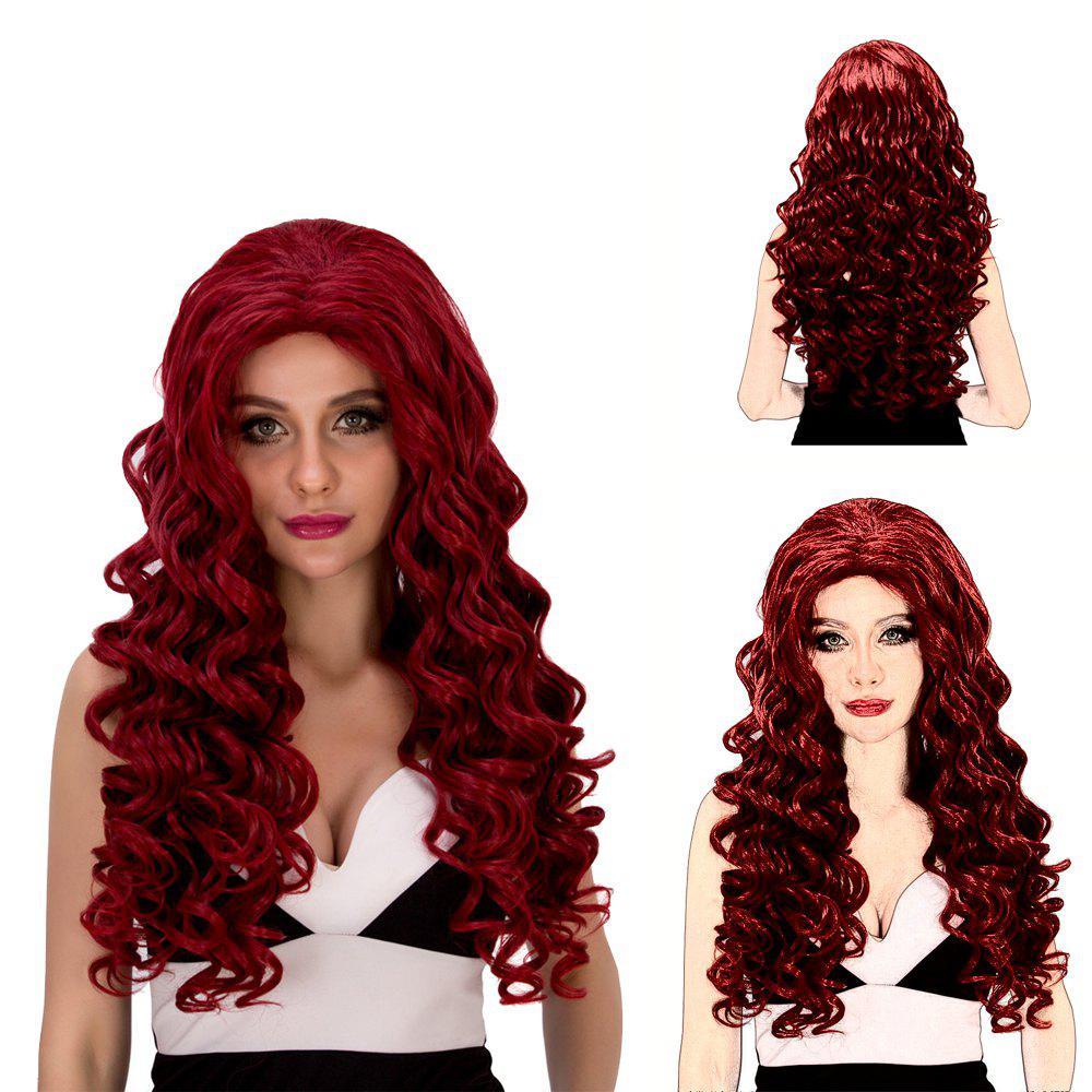 Sale Vogue Long Loose Curly Wine Red Synthetic Capless Cosplay Wig For Women