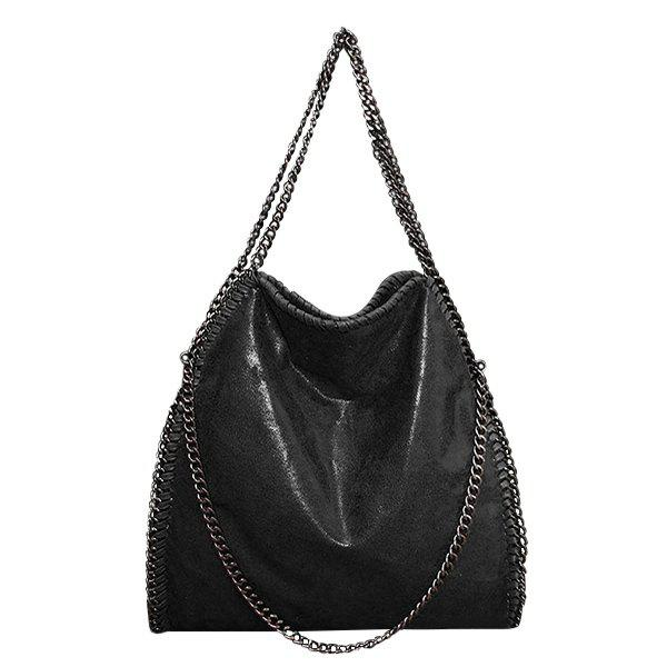 Fashion PU Leather and Chains Design Shoulder Bag For WomenSHOES &amp; BAGS<br><br>Color: BLACK; Handbag Type: Shoulder bag; Style: Fashion; Gender: For Women; Embellishment: Chains; Pattern Type: Solid; Handbag Size: Medium(30-50cm); Closure Type: Zipper; Interior: Cell Phone Pocket; Occasion: Versatile; Main Material: PU; Weight: 1.200kg; Size(CM)(L*W*H): 35*8*40; Strap Length: 21CM; Package Contents: 1 x Shoulder Bag;