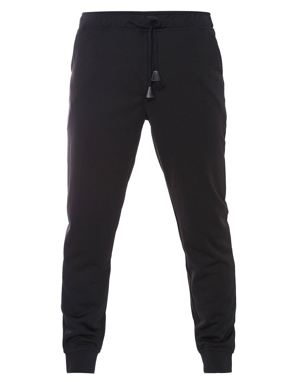 Drawstring Waistband Black Jogger Pants For Men 189721102
