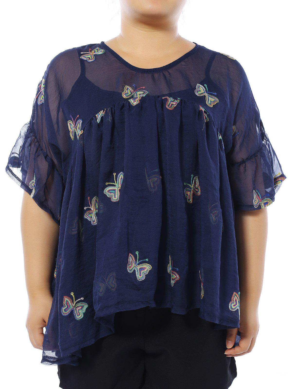 Latest Plus Size Butterfly Embroidered Blouse with Camisole