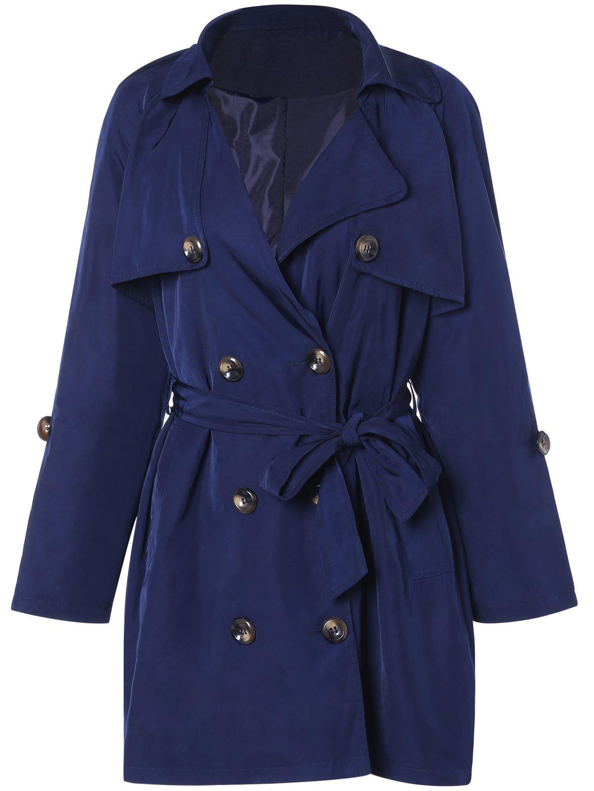 Hot Plus Size Tie Belt Double Breasted Long Trench Coat