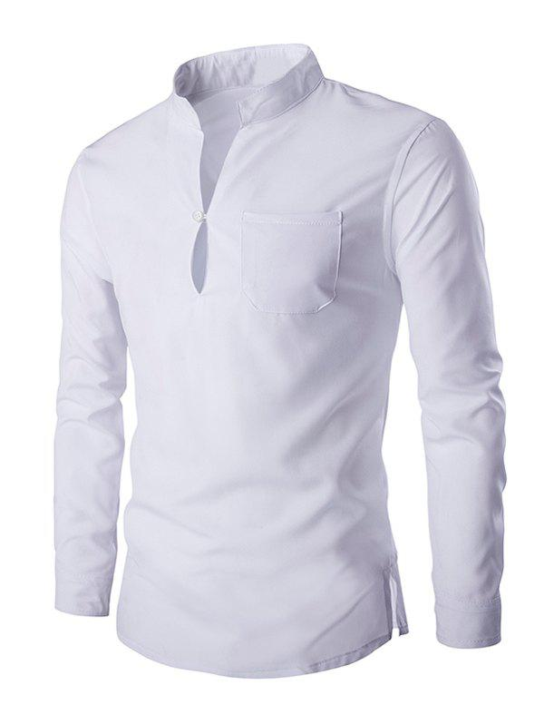 Mandarin Collar Long Sleeve Slim Fit ShirtMEN<br><br>Size: 2XL; Color: WHITE; Shirts Type: Casual Shirts; Material: Cotton Blends; Sleeve Length: Full; Collar: Mandarin Collar; Weight: 0.205kg; Package Contents: 1 x Shirt;