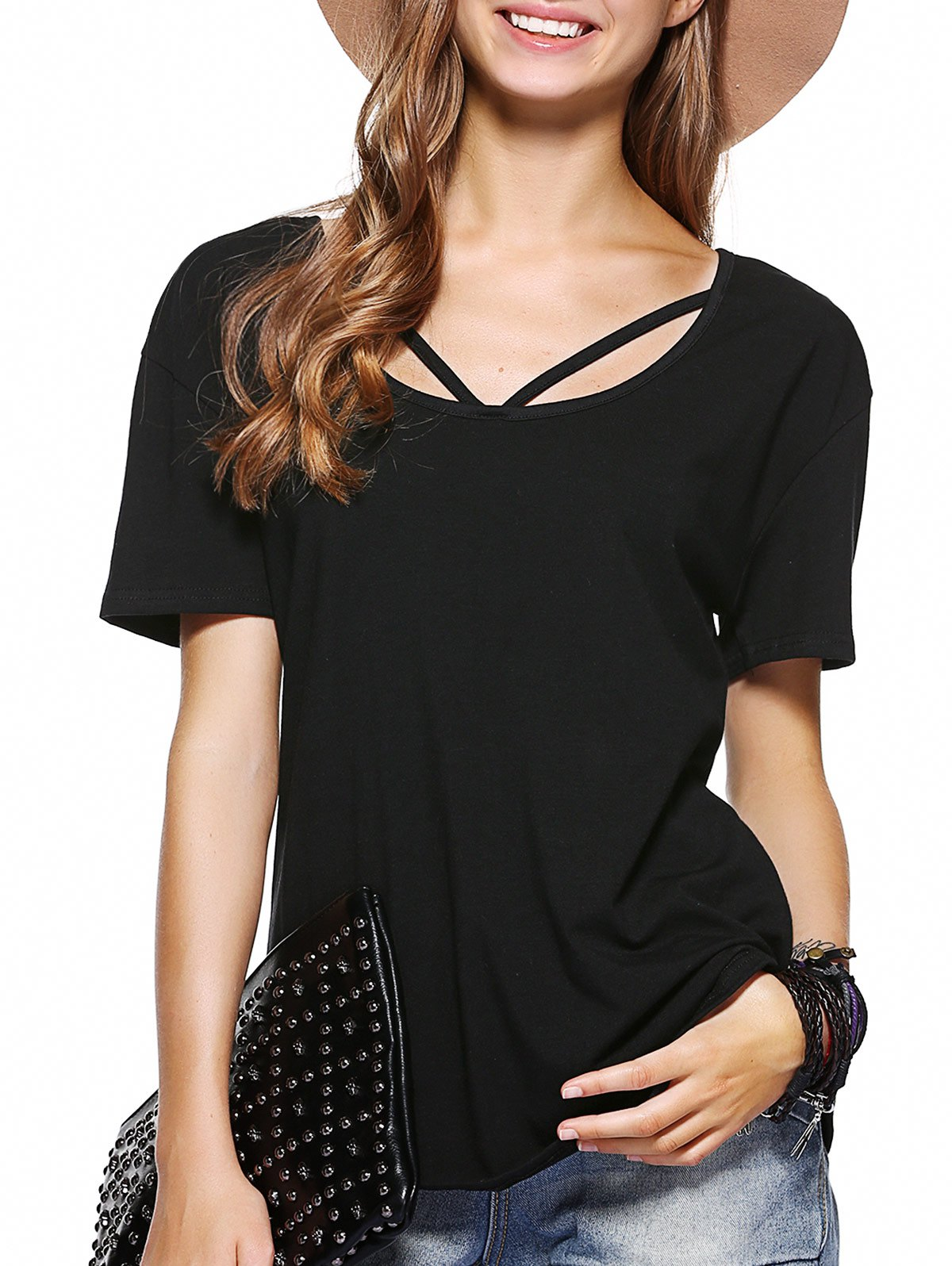 Discount Simple Cut Out Solid Color T-Shirt For Women