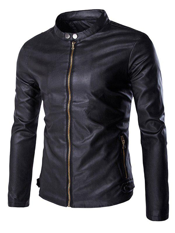 New Multi-Zipper Stand Collar Long Sleeves PU Leather Jacket For Men