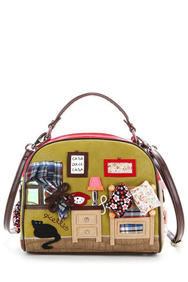 Latest Vintage PU Spliced Patch Design Tote Bags