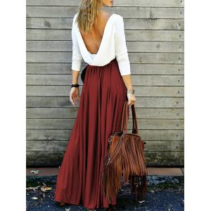 Backless Long Sleeve Maxi Pleated Prom Dress - Wine Red - S