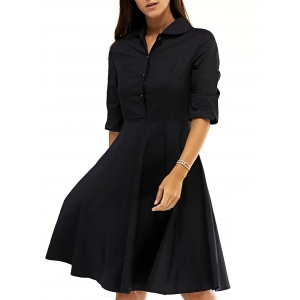 Retro Women's Pure Color Buttoned Flare Dress - Black - L