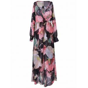 Bohemian Plunging Neck Maxi Floral Dress - Black - M