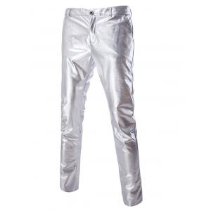 Zipper Fly Solid Color Metallic Pants For Men - Silver - M