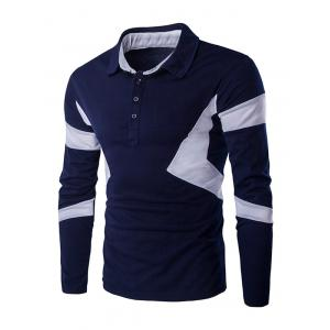Turn Down Collar Color Spliced Long Sleeve Polo Shirt For Men